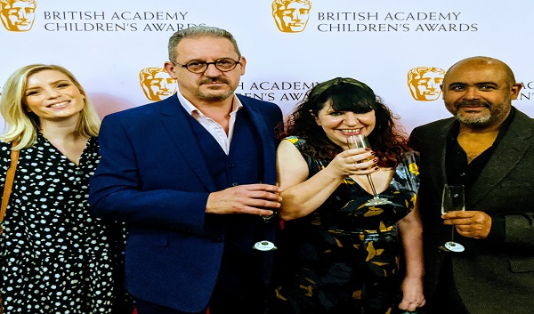 Foz Allan attends the Children's BAFTA awards with Holly Phillips, Isabelle Sieb and Paul McKenzie – The Athena nominated for Best Drama